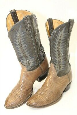 ffadc55c37a TONY LAMA MADE in USA Black Leather Western Cowboy Boots Men's Size ...
