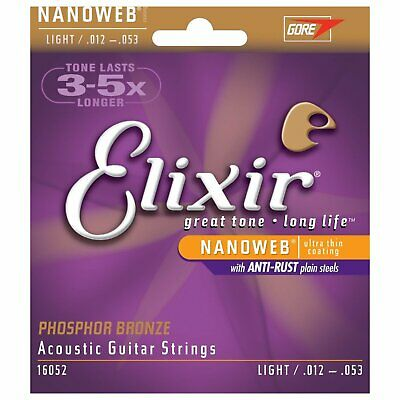Elixir 16052 Nanoweb Acoustic Guitar Strings Light 12-53 Phosphor Bronze