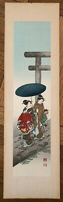 "KOHO SHODA ""TWO GEISHA AND TORII "" ORIGINAL WOODBLOCK PRINT.  FIRST ED, 1920's"