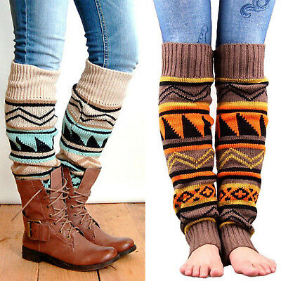 Boho Style Womens Winter Boot Socks Knit High Knee Leg Warmers Leggings Stocking
