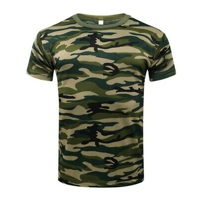 New Men Camo T-Shirt Military Blouse Short Sleeve Tee Army Camouflage Tops M-3XL