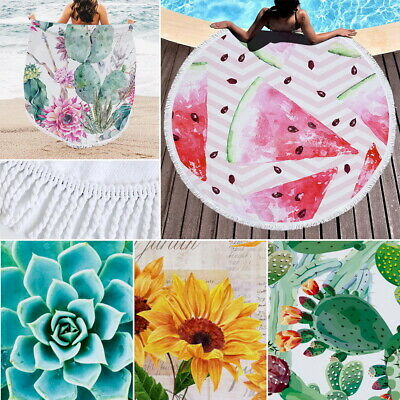 Large Round Beach Towel Swimming Pool Watermelon Fruit Blanket Yoga Mat IN