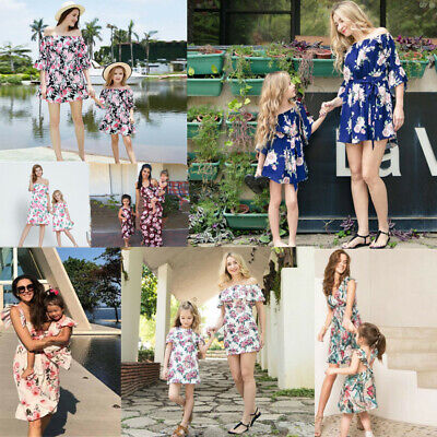 Mother Daughter Family  Floral Dress Matching Outfits Clothes Baby Girl Skirt