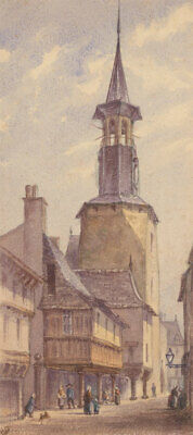 S.S. - Early 20th Century Watercolour, Tower of L'Horloge, Dinan, France