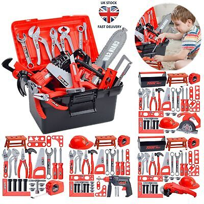 Childs Kids Drill Tool Box Set DIY Builders Building Construction Role Play Toys
