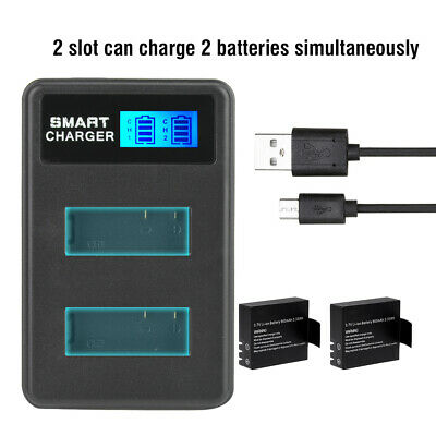 Intelligent USB Dual Slot Camera Battery Charger w/ LCD Display For SJ4000 sn