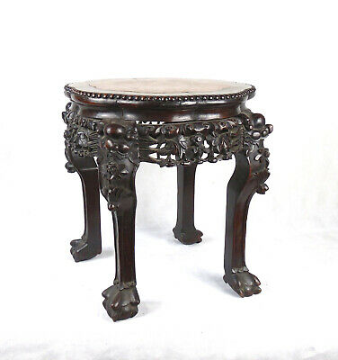 Chinese Hardwood Marble inset Jardiniere Stand Table  Qing Dynasty 19th C