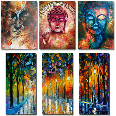3Pcs Stylish Abstract Buddha Image Wall Art Oil Painting Canvas Painted Poster