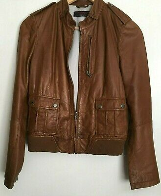 NEW LOOK Ladies Tan LEATHER JACKET Size 12 DRY CLEAN Pre Owned