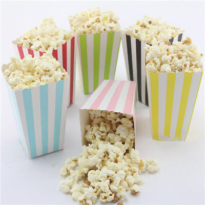 Striped Retro Cinema Popcorn Boxes for Wedding Favours Sweets Candy DS
