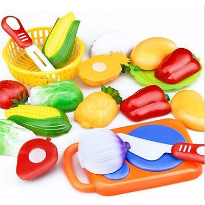 Food Pretend Role Play Toys Kitchen Cutting Fruit Vegetable Kids Gifts JA