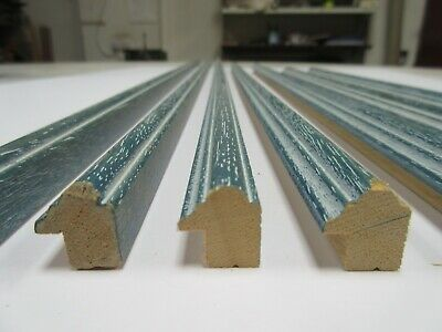 Bundle: 5m approx Turquoise Blue Wooden Picture Frame Moulding 15mm wide