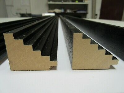 Bundle: 4m Black Step Wooden Picture Frame Moulding - 42mm wide