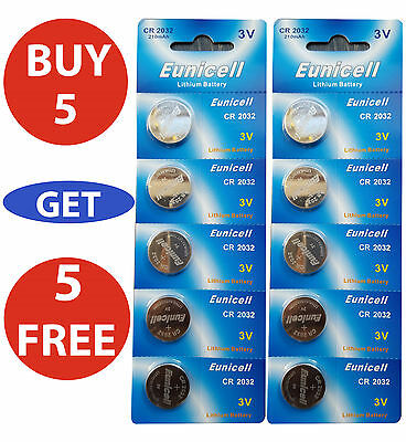 10X Eunicell CR2032 3V Lithium Button Cell Coin Battery Batteries DL2032 CR 2032