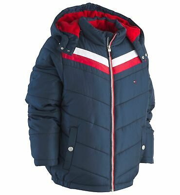 ef7494a0 $275 TOMMY HILFIGER Boy's BLUE HOODED QUILTED PUFFER JACKET COAT WINTER  SIZE 4T