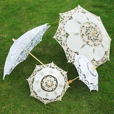 Handmade Cotton Retro Style Lady Parasol Sun Umbrella Fan Lace Bridal Wedding