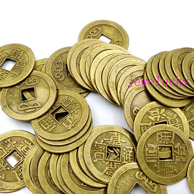 Lot 100PCS Feng Shui Coins 24mm Lucky China Fortune Coin Brass Metal Ching Money