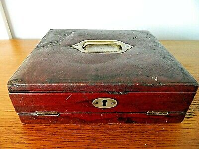 Vintage Writing Slope Box Stationery Box Leather with Lock and Key