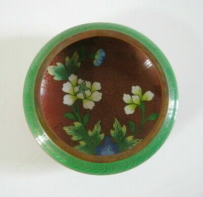Antique Asian Chinese / Japanese Cloisonné Enamel Brass Floral Bowl SMALL 4.3''