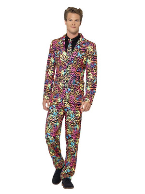 Neon Stand Out Suit Leopard/Tiger Print 1980's Stag Fancy Dress Costume