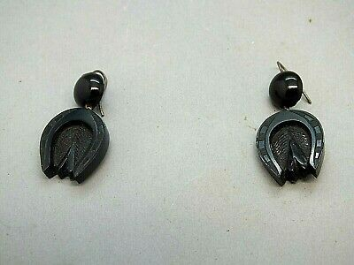 Rare Late 18th C Pair of Jet Horseshoe and Acanthus Leaf Drop Earrings c1770
