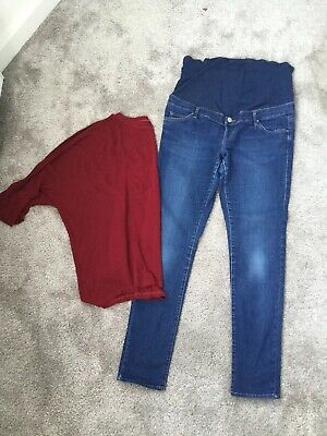 ddd32605be8eb TOPSHOP MOTO MATERNITY Leigh Under the bump black Jeans Size 10 L32 ...