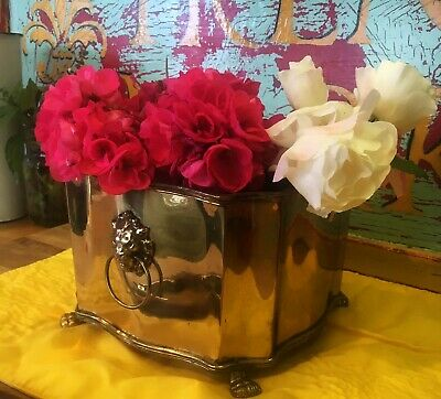 """Solid Brass Planter with Lion Heads and Claw Feet 8"""" x 6"""""""