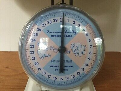Vtg 1960s American Family Nursery Scale 30Lbs In Ounces Pink Blue Removable Top