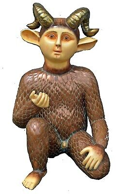 "Unique Sergio Bustamante ""Ram Boy"" OOAK Ceramic Handpainted Sculpture Sigd, COA"