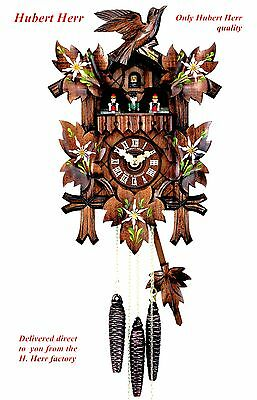 Hubert Herr,   lovely new Black Forest 1 day musical cuckoo clock with flowers.
