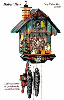 Hubert Herr,  new 1 Day cuckoo clock with moving beer drinker & chimney sweep.
