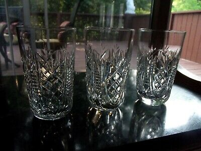 "Set (3) Flat Tumblers 12 oz Glasses, 5-1/8"" Cut Crystal signed Waterford CLARE"
