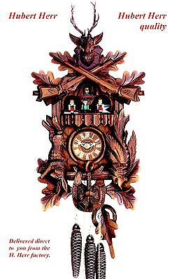 Hubert Herr,  lovely new hand carved hunter style musical 1 Day cuckoo clock.
