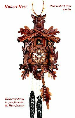 Hubert Herr,   new Black Forest  hand carved i day hunter style cuckoo clock.