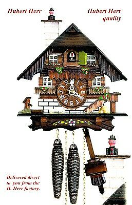 Hubert Herr,  Black Forest  1 day mechanical cuckoo clock with moving sweep.