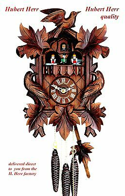 Hubert Herr,  Black Forest,  new 2 tune musical cuckoo clock with dancing people