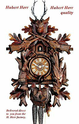 Hubert Herr,  lovely Black Forest  hand carved hunter style 1 Day cuckoo clock.