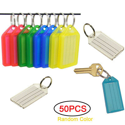 100X Quality Large Id Key Ring Identifier Tag Marker Name Card Label Mix Color