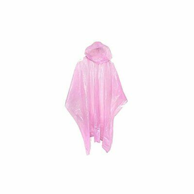 Adult Rain Poncho Pink Waterproof Plastic Disposable Rain Hat Hood Ladies Mens