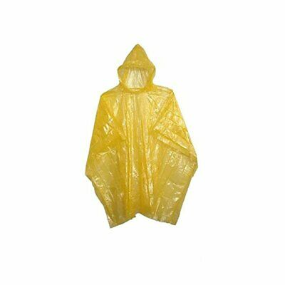 Adult Rain Poncho Yellow Waterproof Plastic Disposable Rain Hat Hood Ladies Mens