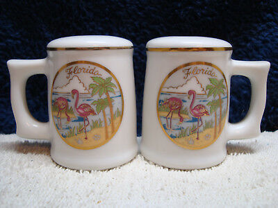 Souvenir, Florida white mug shape porcelain salt & pepper shaker set, Japan.