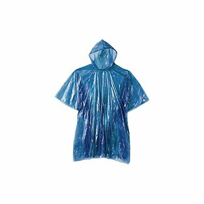 Adult Rain Poncho Blue Waterproof Plastic Disposable Rain Hat Hood Ladies Mens