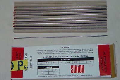 """Tig Welding Rod Tungsten Electrodes, Thoriated 2%, 1/16"""", New, Very Old Stock"""