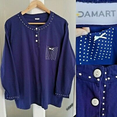 24d9f3aff9c Damart Blue Nightwear Top 18 / 20 Tshirt L/Sleeve Spotted Pocket Cotton  Buttons