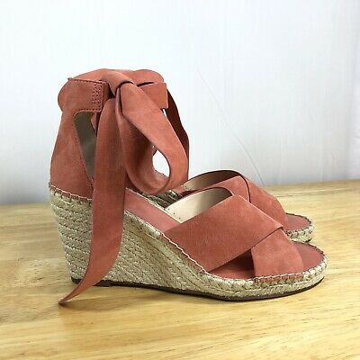 8fee7ceeba Women's VINCE CAMUTO Sandals 10M Coral Suede Espadrille Wedge Shoes  Gladiator