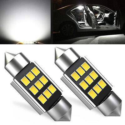 Pair 5730 9-SMD 36MM White LED License Plate Interior Map Light Bulbs 6418 C5W
