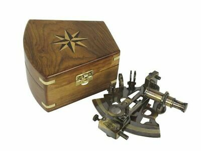 G4668: Nostalgic Mirror Sextant in Wood Box, Brass Silver Scale