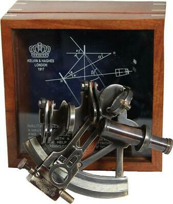 G3084: Noble British Mirror Sextant in Wooden Box, Kalvin & Haghes London 1917