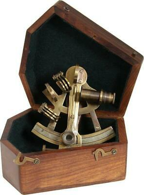 G3090: Marine Sextant Made Bronze-Coated Brass in Precious Wooden 12 CM