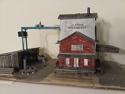 "Craftsman scratch- built, HO scale ""J.D. Ambros Piping Fabrication"", all wood"
